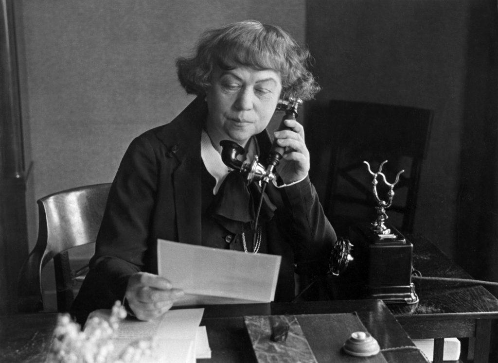 Alexandra Kollontai at desk