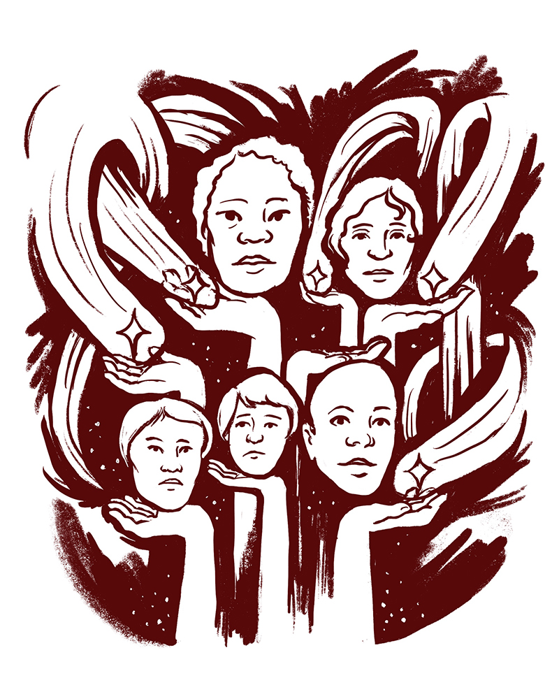 Illustration of faces and hands